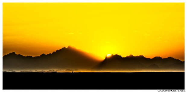 Sunset over Egyptian desertic mountains