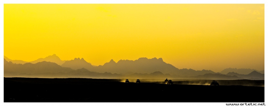 View of sunset in Egypt over the desertic mountains along the Red Sea