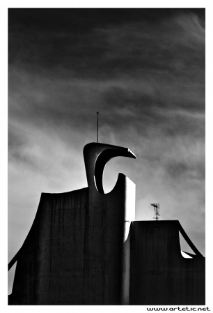 "Architectural top of the most famous building of La Grande Motte called ""la pyramide"""