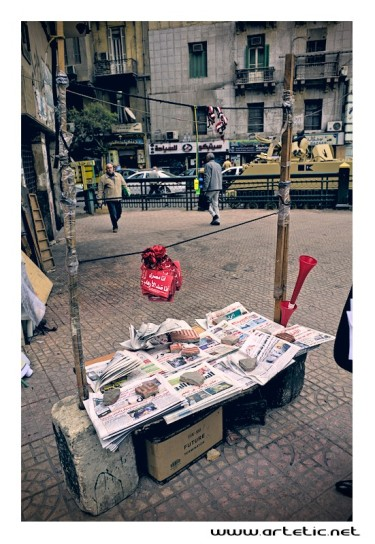 Press kiosk on tahrir square in Cairo, Egype