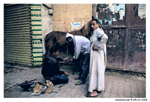 Blacksmith working in the street of Cairo