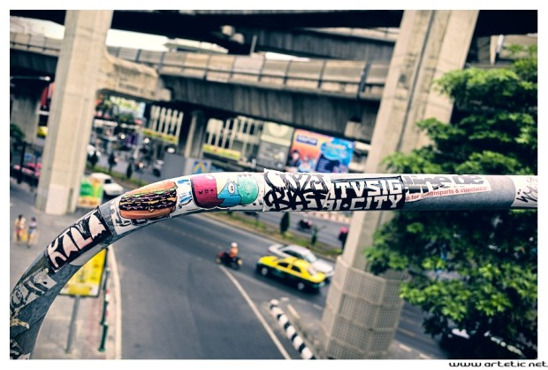 Zoom on stickers in Bangkok