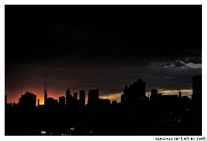 Nice Sunset over the buildings of bangkok
