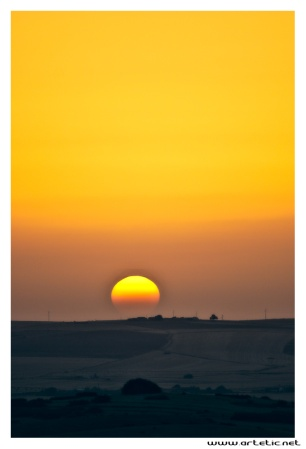 Sunset over Moroccan countryside