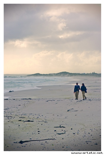 Romantic walk along the beach in Cape town