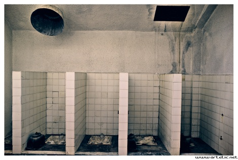 View of the toilets at Carbonia mines
