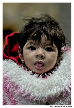 Cute little girl in Cairo during the frozen winter of 2013