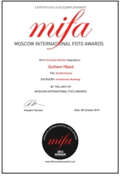 Certificate Honorable Mention MIFA 2014 guilhem ribart artetic