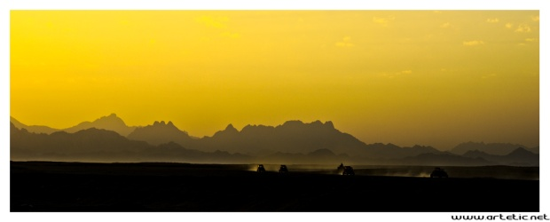 Beautiful sunset over the egyptian mountain in the desert along the red sea