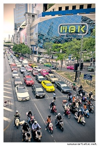 Cars and moto swarn in the streets of Bangkok at Traffic jam time, like Georges Orwell's 1984 book