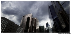 An unusual picture of La Defense district business of Paris