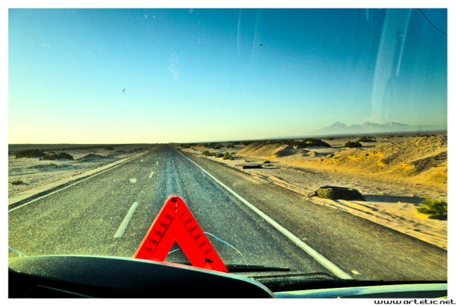 Egyptian highway toward Hurghada along the red sea and across the desert