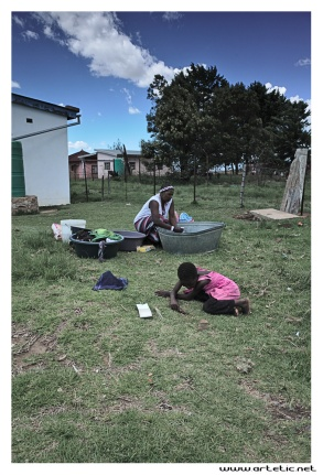 An usual laundry day in a Sotho village