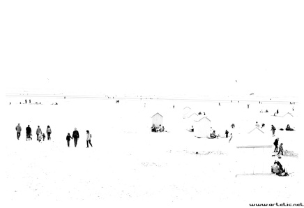 A spring day on the beach of Bay of Somme