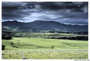 The highest mountains in Drakensberg make the borders with South Africa