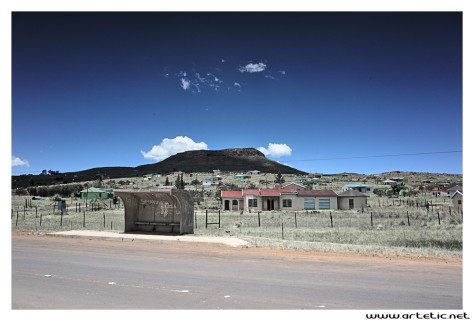 A typical modern village with electricity along the main road in eastern cape