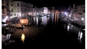 Night view of grand canal in Venice from Rialto bridge