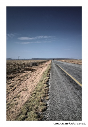 Never ending road in South Africa between Port Elizabeth and Bloemfontein