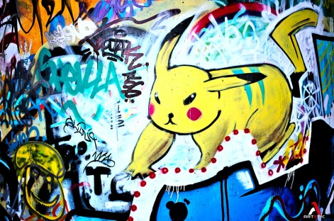 Street art graffiti in the country side of Paris