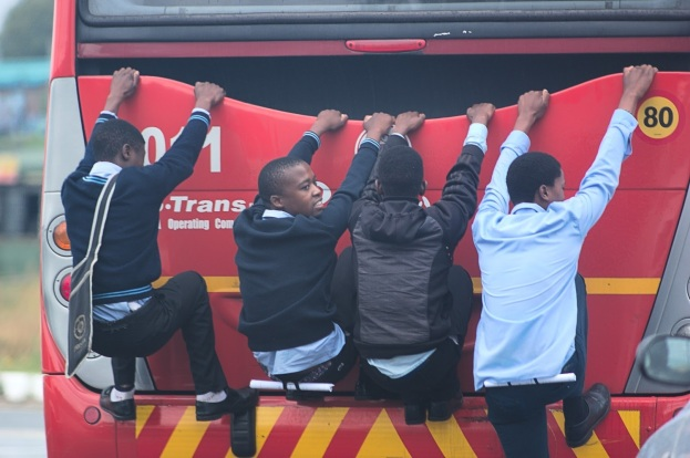 Bus stop in Soweto